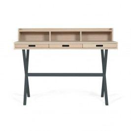 Pracovní stůl v dekoru dubového dřeva s šedými kovovými nohami HARTÔ Hyppolite, 120x55cm