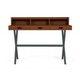 Pracovní stůl v dekoru ořechového dřeva s šedými kovovými nohami HARTÔ Hyppolite, 120x55cm