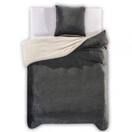 Tmavě šedé povlečení z mikrovlákna DecoKing Teddy, 135x200 cm