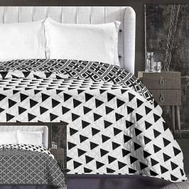 Černobílý oboustranný přehoz z mikrovlákna DecoKing Hypnosis Triangles, 220 x 240 cm