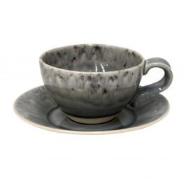 Šedý kameninový šálek na čaj s podšálkem Costa Nova, 250 ml