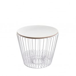 Odkládací stolek z lakovaného kovu s bílou deskou HARTÔ Ernest, Ø 50 cm
