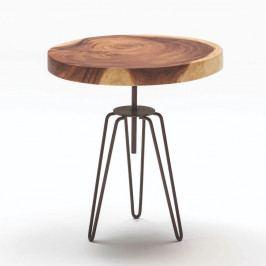 Dřevěný odkládací stolek s kovovým podnožím Thai Natura, ∅48cm