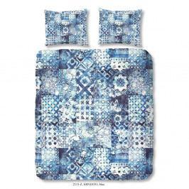 Modré povlečení z bavlněného saténu Ernesto, 200 x 200 cm