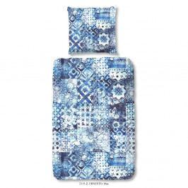 Modré povlečení z bavlněného saténu Ernesto, 140 x 200 cm