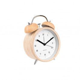 Bílý budík v dřevěném dekoru Karlsson Classic Bell, ⌀14cm