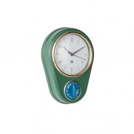 Tmavě zelené nástěnné hodiny s kuchyňskou minutkou PT LIVING