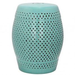 Tyrkysově modrý keramický stolek vhodný do exteriéru Safavieh Diamond, ø35cm