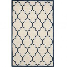 Krémově bílý vlněný koberec s tmavě modrým motivem Safavieh Everly, 121x182cm