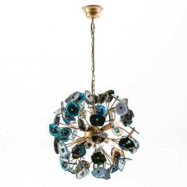Modré závěsné svítidlo z kovu a achátu Thai Natura Agate