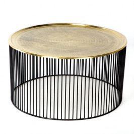 Černo-zlatý konferenční stolek Thai Natura, Ø 80 x 42 cm