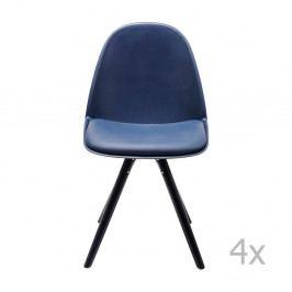 Sada 4 modrých jídelních židlí s nožičkami z jasanového dřeva Kare Design Candy