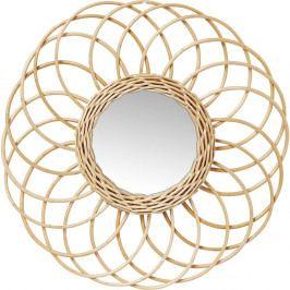 Nástěnné zrcadlo s ratanovým rámem Kare Design Swing, Ø34cm