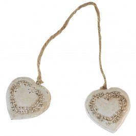Dřevěná dekorace s motivem srdíček Antic Line Double Heart