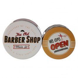 Sada 2 cínových úložných boxů Premier Housewares Barber Shop