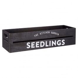 Černý dřevěný truhlík na bylinky a květiny Premier Housewares Seedlings, 15 x 45 cm