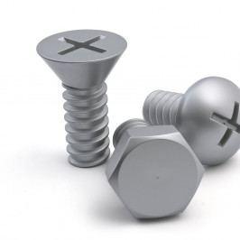 Sada 3 šedých nástěnných háčků Qualy&CO Screw Collection