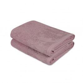 Sada 2 fialových ručníků z čisté bavlny, 50 x 90 cm