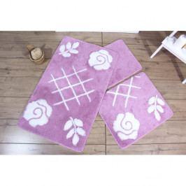 Sada 3 fialových koupelnových předložek Flora