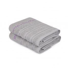 Sada 2 šedých ručníků z čisté bavlny Handy, 50 x 90 cm
