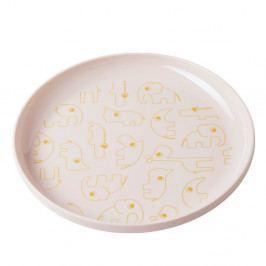 Dětský světle růžový talíř se žlutými detaily Done by Deer Yummy, Ø20,5cm