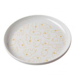 Dětský šedý talíř se žlutými detaily Done by Deer Yummy, Ø20,5cm