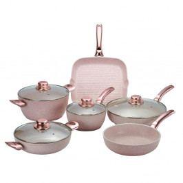 6dílný set nádobí s poklicemi Bisetti Stonerose Rose Giacomo