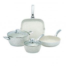 4dílný set nádobí s poklicemi a úchyty ve stříbrné barvě Bisetti Stonewhite Chiara