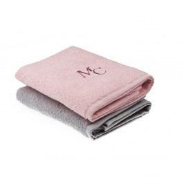 Sada růžového a šedého ručníku Sally