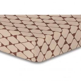 Béžové elastické prostěradlo se vzorem DecoKing Rhombuses,180x200cm