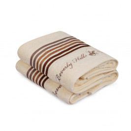 Sada dvou ručníků v krémové barvě s pruhem Beverly Hills Polo Club, 90x50cm