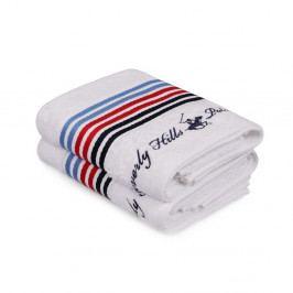 Sada dvou bílých ručníků s pruhem Beverly Hills Polo Club, 90x50cm