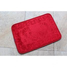 Červená koupelnová předložka s motivem chodidel Feet Feet, 60x 40cm
