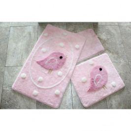 Sada tří růžových koupelnových předložek Alouette