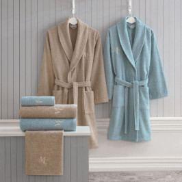 Set dámského a pánského županu, ručníků a osušek v béžové a modré barvě Family Bath
