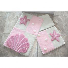 Sada tří koupelnových předložek s mořským motivem ve světle růžové barvě Knit Knot
