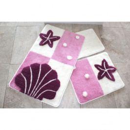 Sada tří koupelnových předložek s mořským motivem v tmavě růžové barvě Knit Knot
