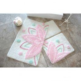 Sada tří koupelnových předložek s motivem lotosového květu v bílo-růžové barvě Knit Knot