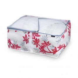 Červeno-bílý úložný box na peřiny Domopak Living, délka55cm