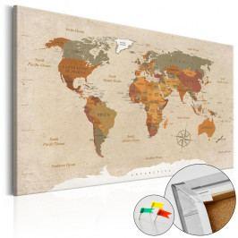 Nástěnka s mapou světa Bimago Beige Chic, 120x80cm