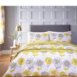 Žluté povlečení na jednolůžko Catherine Lansfield King, 135 x 200 cm