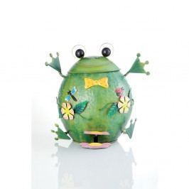 Zelený kovový odpadkový koš ve tvaru žáby Brandani,10l