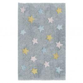 Modrošedý dětský ručně vyrobený koberec Tanuki Stars, 120x160cm