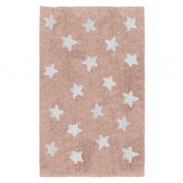 Růžový dětský ručně vyrobený koberec Tanuki Stars, 120x160cm