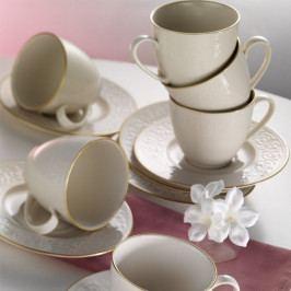 Sada 6 porcelánových šálků s podšálky Kutahya Simple Gold