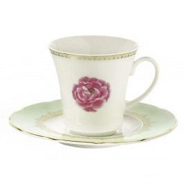 Sada 6 porcelánových šálků s podšálkem Kutahya Roses, 80 ml