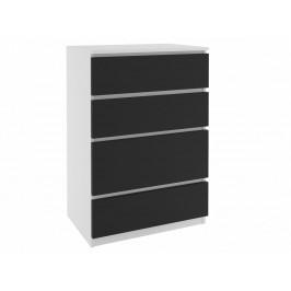 Šuplíková komoda Simply - bílá / černá