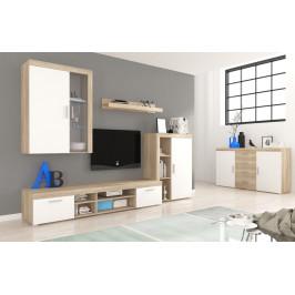 Moderní obývací stěna Tom 2 s led osvětlením - dub sonoma / bílá