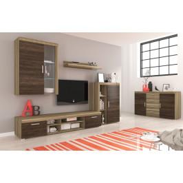 Moderní obývací stěna Tom 3 s led osvětlením - country šedá / arusha wenge
