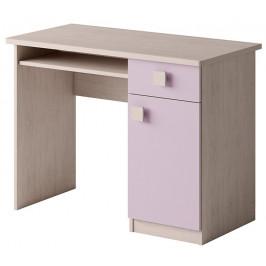 Stylový psací stůl TENUS - dub santana/růžová